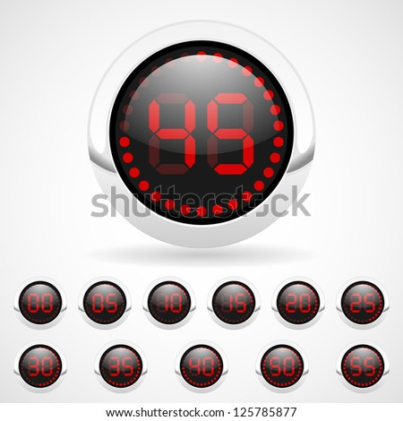 Vector timer with red digits
