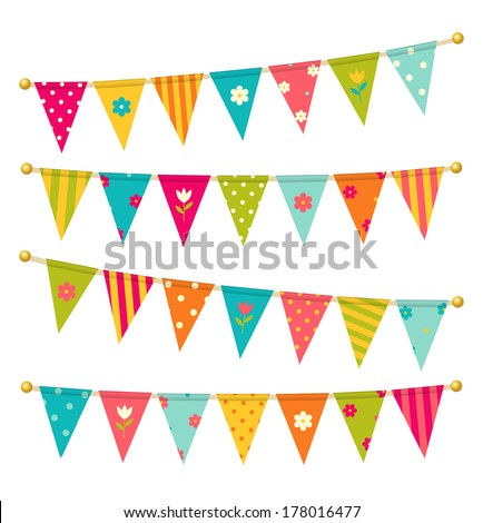 Vector triangle bunting flags with flowers