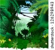 Vector tropical rainforest Jungle - stock photo