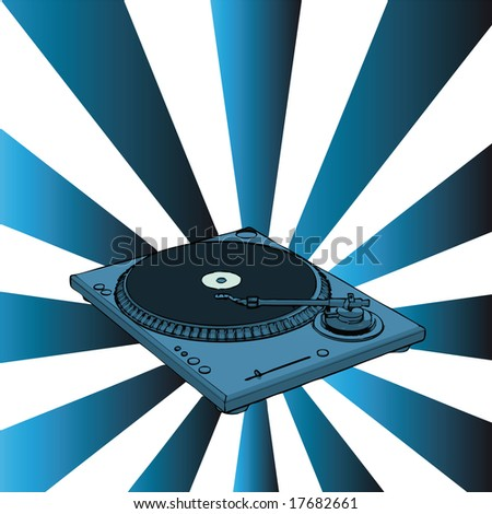 vector turntable with blue retro background