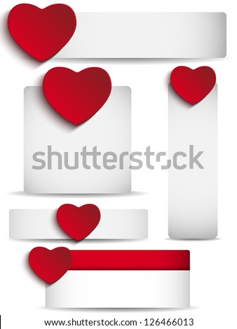 Vector - Valentines Day Set of Five Stickers