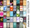 Vector variety of 40 vertical business cards on different topics. - stock vector