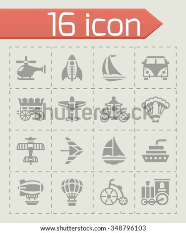 Vector Vehicles icon set on grey background