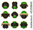 Vector version. Set of golden vintage labels for design food and beverages. Jpeg version is also available - stock vector