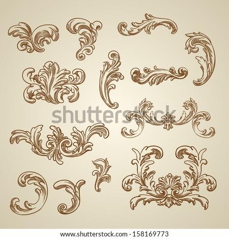 Vector vintage border frame filigree engraving stock for Baroque design clothes