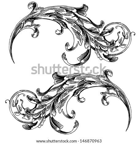 vector vintage baroque engraving floral scroll filigree design frame border acanthus pattern element at retro grunge
