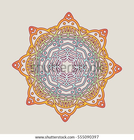Vector vintage Mandala sign frame. Vintage decorative elements. Oriental pattern, vector illustration. Islam, Arabic, Indian, turkish, pakistan, chinese, ottoman motif
