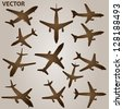 Vector vintage old set of brown planes drawings on a beige background. It is a group or collection of aircrafts ideal for grungy, travel, flight,transport,retro,antique,business or commercial designs - stock photo