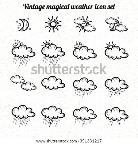vector vintage outline weather icon set