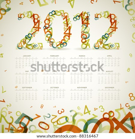 Vector Vintage retro calendar for the new year 2012 with numbers