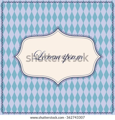 Vector vintage rhombuses pattern blue background with banner