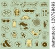 Vector vintage set of hand drawn objects - stock vector