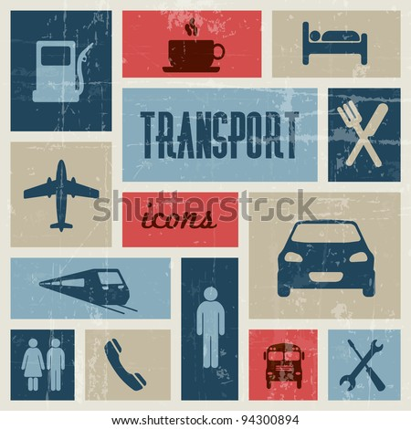 Vector vintage transport (traffic) poster - blue and red