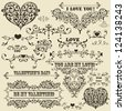 "vector vintage Valentine's  highly detailed design elements, fully editable eps 8 file, standart AI fonts ""rosewood std"", ""stencil bold  std"", ""cooper std"" - stock"