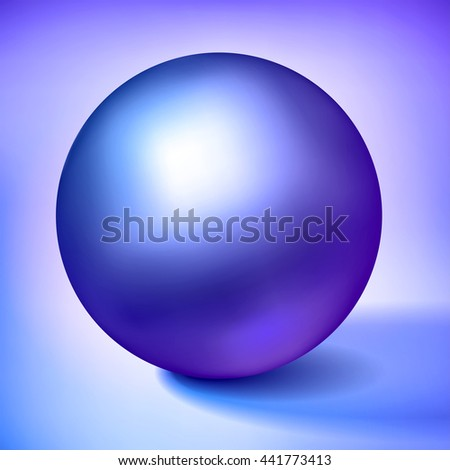 Vector volume blue sphere, glossy purple metal ball, surround the object for you project design