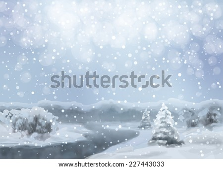 Vector watercolor blue night landscape with snow-covered forest, river, fir tree