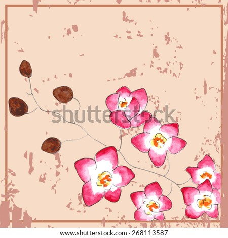 vector watercolor card with flowers