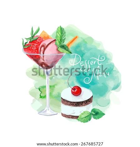 dessert designs vector watercolor dessert menu design can stock vector 267685751
