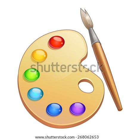 Vector watercolor palette and paintbrush