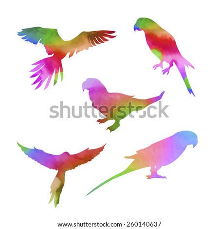 Vector watercolor parrot, set of silhouettes