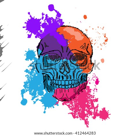 Vector watercolor skull  pattern