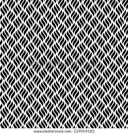 Vector wave illustration of seamless black and white abstract pattern