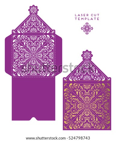 Die Cut Envelope Template Laser Cut Stock Vector