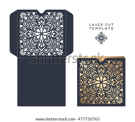 Vector wedding card laser cut template. Vintage decorative elements. Hand drawn background. Islam, Arabic, Indian, ottoman motifs