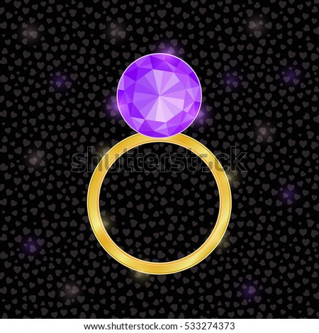 Vector Wedding Ring Icon with Bright Purple Diamond. Flat Design Illustration
