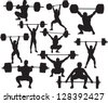 Vector weightlifter silhouette - stock