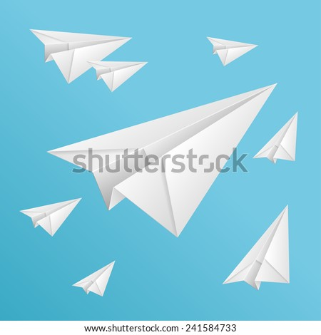 Vector white paper planes on blue sky