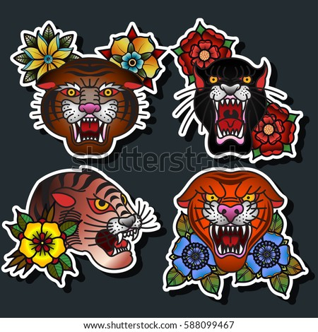 Hippie vintage car mini van ornamental stock vector for Panther tiger tattoo
