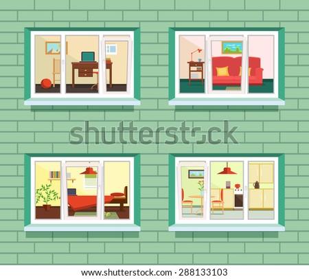 Red entrance door in front of residential house stock photo - Violet Front Door Window On Brick Stock Vector 462726154