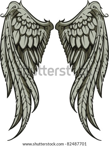 Stock Vector Vector Wings Illustration on black swirl border clip art