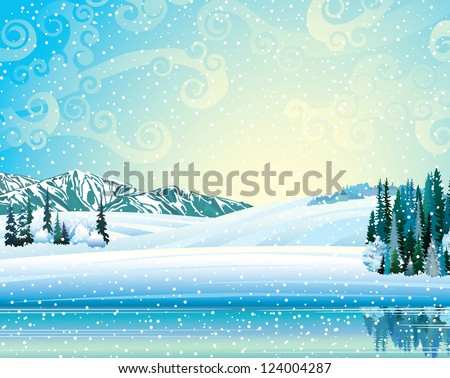 Vector winter landscape with frozen forest, lake and mountains on a snowfall background.