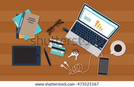Vector work place with brown background