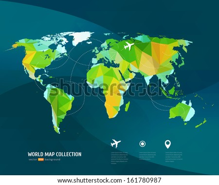Flight routes vector eps 10 stock vector 292873595 shutterstock vector world map on dark background triangle set gumiabroncs Gallery