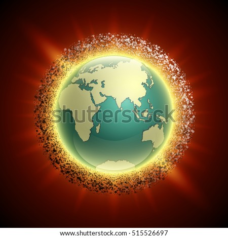 Vector world map belt comets asteroids stock vector 519675283 vector world map with belt of comets and asteroids globe icon in the space debris gumiabroncs Choice Image