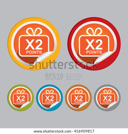 Vector : X2 Points Infographics Icon on Circle Peeling Sticker