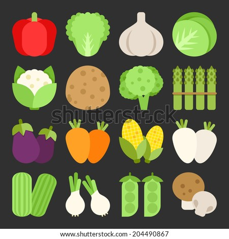 Vegetable icon set, vector