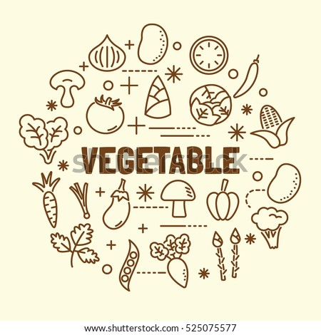 vegetable minimal thin line icons set, vector illustration design elements