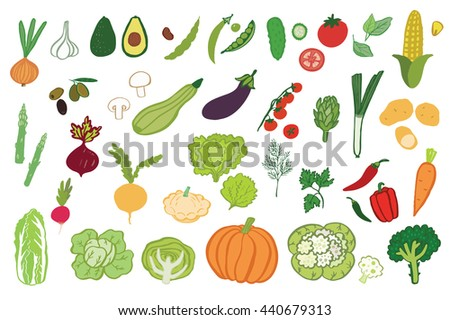 vegetables graphic vector color set