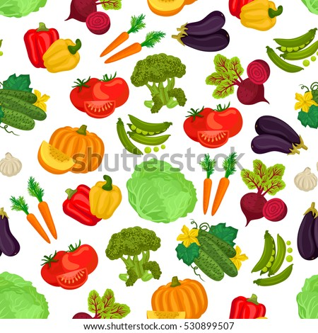 Vegetables pattern of pumpkin, cucumber, beet, tomatoes, carrot, peas, pepper, cabbage, eggplant, garlic, broccoli. Vector seamless pattern background of vegetarian vegetables.