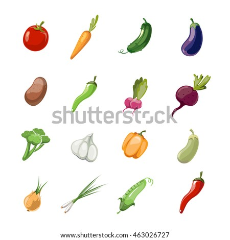 Vegetables vector cartoon icons