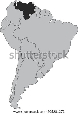 Venezuela vector map isolated on white background with borders of South America