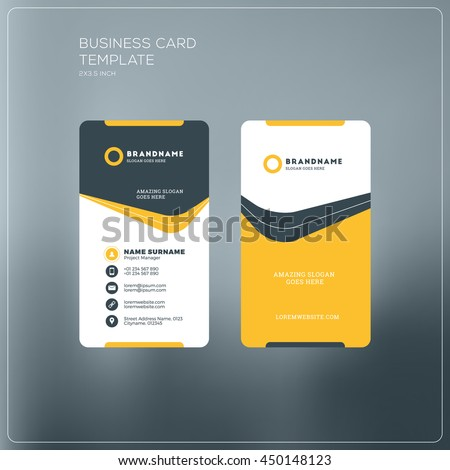 Golden gray vertical business card print stock vector 553590814 vertical business card print template personal business card with company logo black and yellow spiritdancerdesigns Choice Image