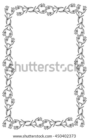 Vertical frame with bluebells. Design element for advertisements, flyer, web, wedding and other invitations or greeting cards. Vector clip art.