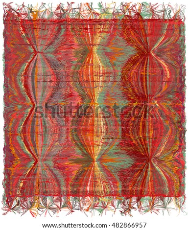 Vertical weave tapestry with grunge striped wavy colorful pattern and fringe