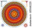 Very Detailed Mandala Design with matching border - easily editable - stock vector