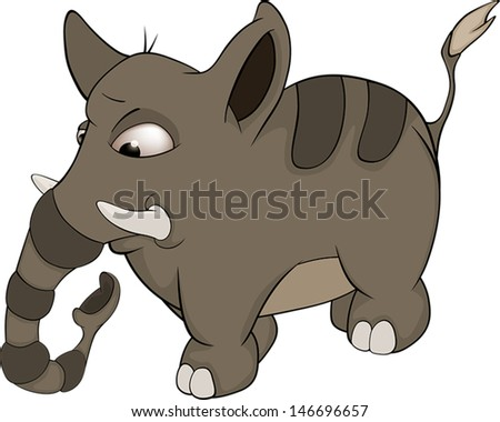 Very small striped elephant cartoon